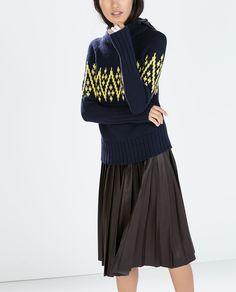 HOODED INTARSIA SWEATER-Turtleneck-Knitwear-WOMAN | ZARA United Kingdom