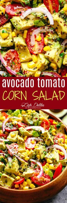 Avocado Tomato Corn Salad - Cafe Delites: Good - added more cumin and a little sugar. Need more texture - lettuce? Avocado Recipes, Veggie Recipes, Vegetarian Recipes, Cooking Recipes, Healthy Breakfast Recipes, Healthy Salads, Healthy Eating, Healthy Recipes, Drink Recipes