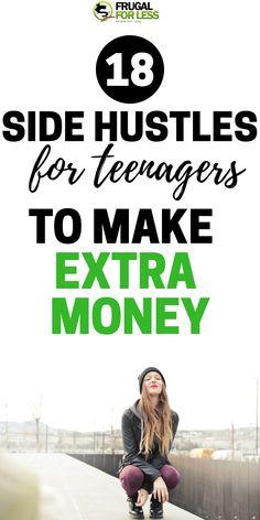 18 side hustles just for teens Frugalforless com Making Money Teens, Make Easy Money, Make Money From Home, Way To Make Money, Money Tips, Money Saving Tips, Jobs For Teens, Teen Jobs, Financial Tips