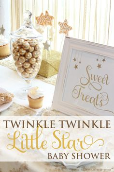 A beautifully styled gender neutral Twinkle Twinkle Little Star Baby Shower with a color palette of white, ivory, silver and gold.