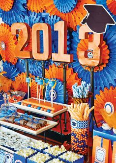 Birthday or Graduation Party Ideas! Orange and Blue theme, perfect for school colors or bold summer colors.