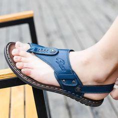New Men's Casual Summer Flat Flip Flops Clip Toe Sandals Beach Slippers Shoes 25 Mens Dress Sandals, Fashion Sandals, Men Sandals, Fashion Boots, Leather Slippers, Leather Sandals, Men's Leather, Mens Shoes Boots, Boots Women