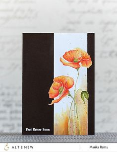 handmade get well card: altenewpaintedpoppy1 by altenew ... dramatic look with black card base ... panel with watercolor look poppies going over the border line ... wonderful card!