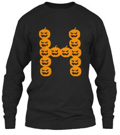 H For Halloween  Black T-Shirt Front
