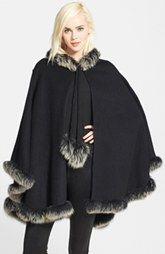 La Fiorentina Wool Cape with Genuine Fox Fur Trim