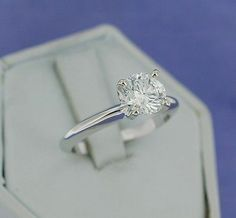 14kt White Gold 1.15ct Diamond Solitaire Wedding Engagement Ring Size 5 75   eBay
