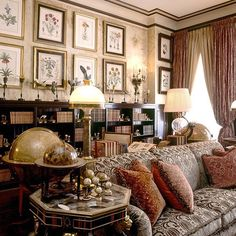 Ann Getty. I like the desk behind the sofa and all the bookcases.