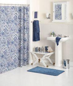 blue bathroom gorgeous curtain