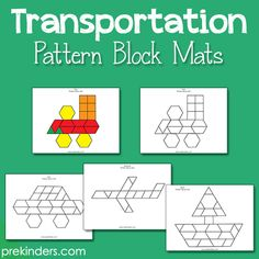 These new pattern block mats include an airplane, train, car, boat, and space shuttle to go with yourTransportation theme. Children use these mats with standard pattern blocks (available in educational supply catalogs). They can place the pattern blocks directly onto the mat or recreate the design on the table beside the mat. I have included both color mats and blackline mats. The color mats are easier because children are able
