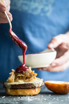 Veggie Sliders with blackberry bbq sauce and caramelized onions