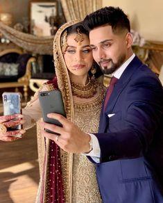 Couple Wedding Dress, Wedding Couples, Wedding Dresses, Muslim Brides, Indian Embroidery, Couple Shoot, Marriage, Aiman Khan, Feminine