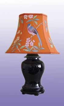 Black lamp with hand-painted lampshade.