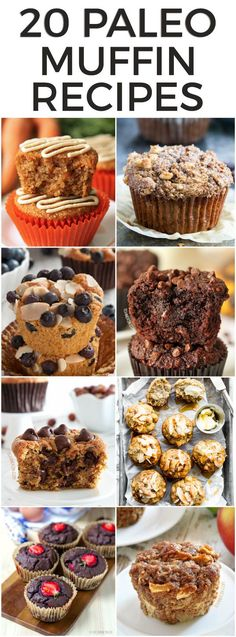 Here are 20 paleo muffin recipes to start your day off right! You can feel good about eating these muffins, which are higher in protein, have more healthy fats and less sugar than your typical bakery muffin. Plus - they actually taste great - and not just for paleo muffins! #paleo #recipe #muffins #glutenfree