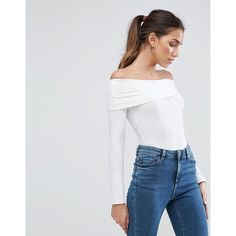 ASOS Foldover Long Sleeve Off Shoulder Body ($14) ❤ liked on Polyvore featuring tops, white, bodycon tops, white top, off the shoulder long sleeve top, white off the shoulder top and long sleeve tops