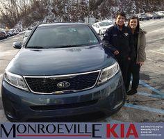 Thank you to Chris & Megan Deriggi on your new 2014 #Kia #Sorento from Adam Bundridge and everyone at Monroeville Kia! #NewCarSmell