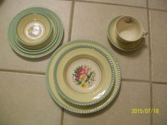 Vintage Johnson Bros Windsor Ware China Floral Aqua Yeovil England Dishes  #JohnsonBros