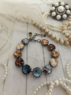 NEW: 12mm Designer Inspired Swarovski Crystal Bracelet, Amber Blue Ombre, Stacked Bracelet, Arm Candy, Fashion Jewelry, Fall Accessory