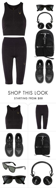 """""""Saturday morning workout"""" by sofia-blair ❤ liked on Polyvore featuring Lucas Hugh, NIKE, DRKSHDW, Ray-Ban and Master & Dynamic"""