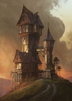 Hilltop House, Jordan Grimmer on ArtStation at https://www.artstation.com/artwork/XkEYL