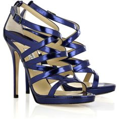 Jimmy Choo Zero metallic-leather sandals ❤ liked on Polyvore