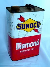 Large 10 qt. SUNOCO Diamond Motor Oil Tin