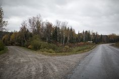 Jones Road, the winding route to Grassy Narrows, Ontario, with the Lount Lake Road turn on the left. (Photograph by Nick Iwanyshyn)