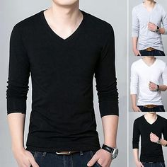 Men Fashion Long Sleeve V eck T shirt Autumn Concise Sexy Slim Fit Tee Shirt Top Neck Design, Tee Shirts, Tees, Men Fashion, V Neck T Shirt, Slim, Long Sleeve, Fitness, Casual