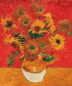 Vincent Van Gogh - Sunflowers (Artist Interpretation Red) - overstockArt.com