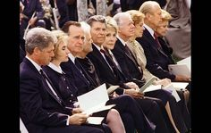The Presidents and First Ladies attend Richard Nixon's funeral
