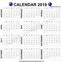 2019 year calendar nz