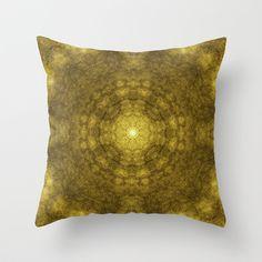 Pseudo Pompous Digital Renaissance - Gold Throw Pillow by Pseudo Pompous  - $20.00