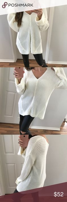 "White Loose Knit Sweater Can't to wrong with this style. Stylish and comfortable! Can be worn normal or off the shoulder ( I prefer almost everything off the shoulder! ). Fixed sleeves, very soft knitted fabric with a relaxed loose fit. Previously sold out in black   Modeling:  XS/S Measures: 28"" L 23"" C  Size Difference: 1"" all over  Fabric: 55% ramie 45% cotton   Please use the ""Self Checkout or ""Add To Bundle"" Feature Sweaters"