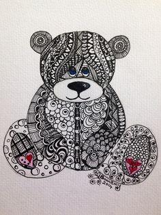 Zentangle Teddy bear on watercolour paper