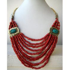Turquoise and Coral Bohemian Necklace / Statement by FootSoles, $26.50