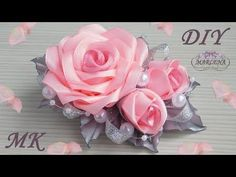 DIY Satin ribbon rose, satin ribbon flower tutorial,how to,kanzashi Easy Fabric Flowers, Fabric Flower Brooch, Fabric Roses, Diy Flowers, Paper Flowers, Kanzashi Tutorial, Ribbon Flower Tutorial, Diy Tutorial, Flower Bouquet Diy
