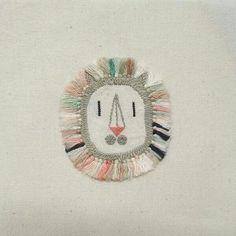 Adriana Torres, Lion mask, embroidery, 11x11cm galeriamardulce@gmail.com
