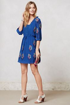 please go on sale cute dress. would look so good as i move into a Minneapolis fall with tights and boots. Cross-Stitched Peasant Dress #anthropologie