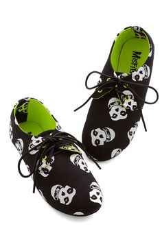 If the Shoe Misfits Flat. Its some kind of love that you feel for these black canvas flats which boast a white print of the legendary Misfits logo. #black #modcloth