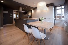 Choosing a contemporary kitchen design will bring you plenty of pleasure for many years to come. See these ideas today. Kitchen Island Table, Modern Kitchen Island, Modern Kitchen Cabinets, Kitchen Redo, Kitchen Interior, New Kitchen, Home Interior Design, Kitchen Remodel, Kitchen White