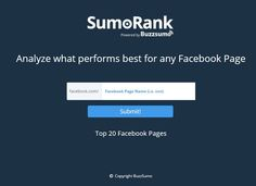 analyze what performs best for any facebook page with sumorank httpsumorank