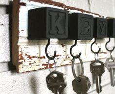 pyssel träklossar nyckelhållare inspiration krok tips