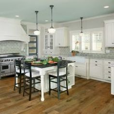 love this... paint your ceiling mint green, white cabinets, grey subway tile backsplash...... LOVE
