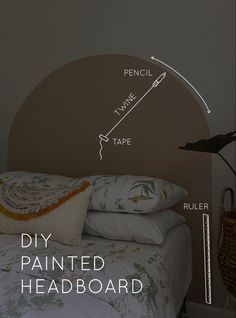 Home Office Decor, Diy Home Decor, Bedroom Wall Designs, Painting Wall Designs, Home Bedroom, Bedroom Decor, Painted Headboard, Home Room Design, House Rooms