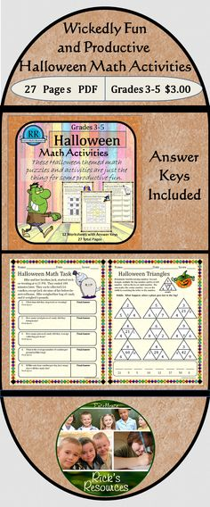 These twelve math puzzles and activities (with answer keys) are a great way to keep kids motivated and productive around Halloween. Students can complete story problems, match answers, break codes, find patterns, complete puzzles - all while reviewing and reinforcing core math concepts and skills including some Common Core concepts. Great for whole group, centers, or individuals.  Grades 3-5.  27 pages.