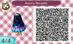"clochefio: "" Christmas Special: Day 5 It's gonna be Aurora season soon, isn't it? I'm excited to see it for the first time in Animal Crossing! This dress features the night sky with the aurora..."