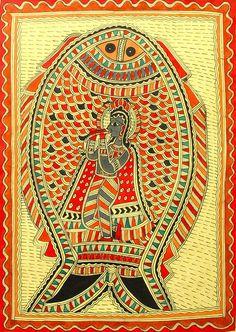 Matsya Avatara - The Fish Incarnation of Vishnu (Madhubani Folk Art on Paper - Unframed) Indian Artwork, Indian Folk Art, Indian Art Paintings, Madhubani Art, Madhubani Painting, Religious Paintings, Embroidery Works, Art Deco Pattern, India Art