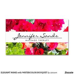ELEGANT NAME with WATERCOLOR BOUQUET Double-Sided Standard Business Cards (Pack Of 100)