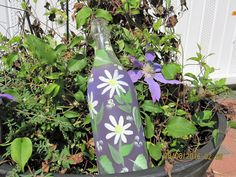 "I added ""Purple bottle with white Daisies green leaves hand"" to an #inlinkz linkup!https://www.etsy.com/listing/475943707/purple-bottle-with-white-daisies-green?ref=shop_home_active_11"