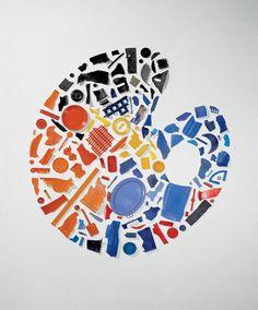 """Palettes, 1985. Anthony Cragg (1949 -). 175 x 162 cm. Il s'agit d'utiliser des objets de la vie quotidienne comme matériaux de base de la sculpture. Le but avoué de Tony Cragg est d'aller """"au-delà de l'objet ou de la matière, de les décoder."""" http://www.faux-mouvement.com/04Expositions/04_Pedagog/pedago/fiches/craggf.html"""
