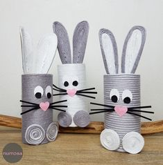 Nature Crafts Make Easter bunnies out of toilet paper rolls - only pink Toilet Roll Craft, Toilet Paper Roll Crafts, Arts And Crafts Box, Diy For Kids, Crafts For Kids, Rolled Paper Art, Easter Traditions, Hand Art, Camping Crafts